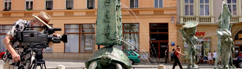 Natáčení videoprezentace Olomouce, P.P.Ries zde spojil profesi režiséra i kameramana